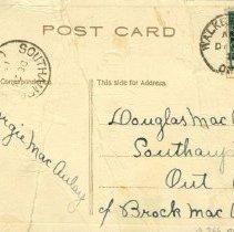 Image of Christmas Wishes post card to Douglas MacAulay 1913 (back)