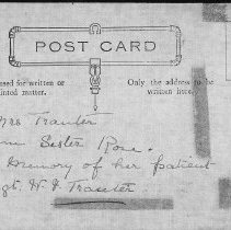 Image of Post Card to Mrs. Tranter from Sister Rose