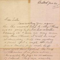 Image of Tranter letter January 30, 1915