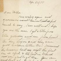 Image of Tranter letter April 22 1915