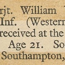 Image of W.V. Tranter newspaper clipping death notice