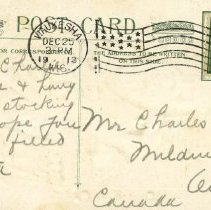 "Image of Reverse of ""A Merry Christmas"" postcard to Charles Vollick"