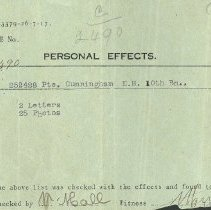 Image of Personal Effects List of Ernest Hall Cunningham, died August 15, 1917
