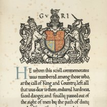 Image of Ernest Hall Cunningham Commemorative Memorial Scroll