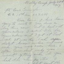 Image of Letter to Ernie Cunningham from Jim Thompson, July 23 1917 - p. 1