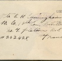 Image of Envelope to Ernie Cunningham from Jim Thompson, July 1917