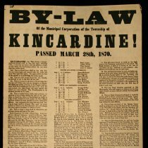 Image of Poster advertising passing of Kincardine Township By-law March 28, 1870