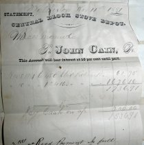 Image of John Cain Central Block Stove Depot invoice, 1881, to Roos Mfg Co.
