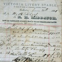 Image of R.H. Middaugh Victoria Livery Stable invoice, 1881, to Roos Mfg Co.