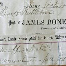 Image of James Bone Tanner, Paisley,1881, to Roos Mfg Co.