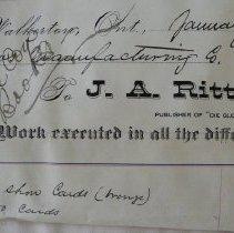 Image of J.A. Rittinger Die Glocke invoice, 1881, to Roos Mfg Co., Walkerton