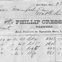 Image of Phillip Cress & Co. Tanners Port Elgin invoice to Roos Mfg Co., 1881
