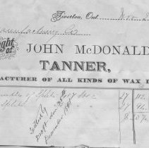 Image of John McDonald, Tanner, Port Elgin, 1881 invoice to Roos Mfg Co., Walkerton