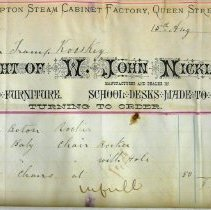 Image of Walkerton Steam Cabinet Factory invoice, 1881, to Roos Mfg Co.