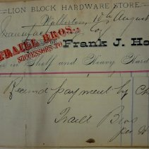 Image of Frank J. Hall, Lion Block Hardware Store, 1881, invoice to Roos Mfg Co.