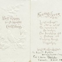 Image of A.E. Belcher Merry Greeting card to Little McAuley 1911 - inside