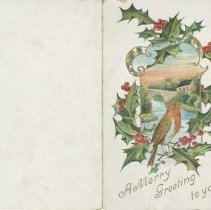 "Image of A961.005.001 - ""A merry greeting to you"" card from Alexander Emerson Belcher"