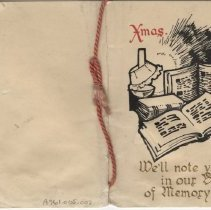 "Image of A961.005.002 - ""We'll note you in our book of memory"" card from Alexander Emerson Belcher"