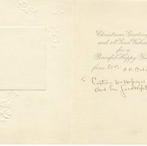 Image of Christmas card from A.E. Belcher to Lambert 1917, inside