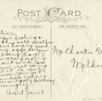 Image of Birthday Postcard to Charlie Vollick, Mildmay, from Aunt Janet