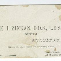 Image of Edward Zinkan, dentist, business card