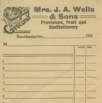 Image of Mrs. J.A. Wells & Sons receipt, 195-