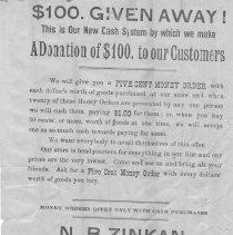 Image of A977.007.001 - N.B. Zinkan, dealer in dry goods etc. handbill