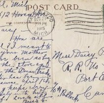 Image of Christmas greeting, postcard back
