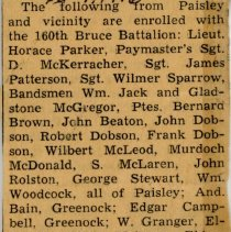 Image of A2009.202.038 - Feb. 9, 1916 newspaper clipping re: Paisley enlistments with 160th Battalion
