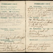 Image of Page beginning with entry 1915-02-14, William Victor Tranter diary