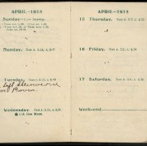Image of Page beginning with entry 1915-04-11, William Victor Tranter diary