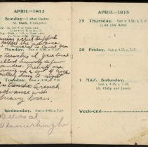 Image of Page beginning with entry 1915-04-25, William Victor Tranter diary