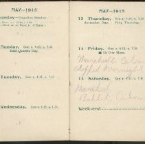 Image of Page beginning with entry 1915-05-09, William Victor Tranter diary