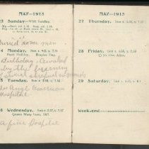 Image of Page beginning with entry 1915-05-23, William Victor Tranter diary