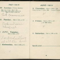 Image of Page beginning with entry 1915-05-30, William Victor Tranter diary