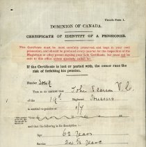 Image of A996.026.001 - Certificate of identity of a pensioner : John Pearson V.C.