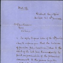 Image of A996.026.002 - Federal District Paymaster letter to Mrs. John Pearson