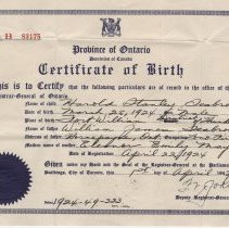 Image of A2013.008.007 Certificate Of Birth, Harold Stanley Seabrook