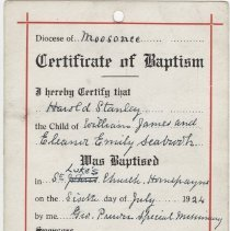 Image of A2013.008.008 Front - Certificate Of Baptism, Harold Stanley Seabrook, 1924