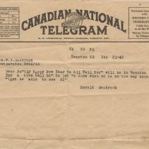 Image of A2013.008.019 - Canadian National Telegram from Harold Seabrook Dec. 31, 1943
