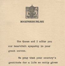 Image of A2013.008.024 Buckingham Palace Sympathy Note Re Harold Seabrook