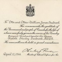 Image of A2013.008.025 Commemoration Card From Minister Of National Defence, 1944