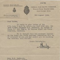 Image of A2013.008.027 Letter To Mrs Seabrook From Imperial War Graves Commission, 1