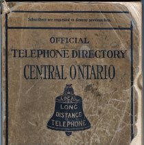 Image of Cover of Official Telephone Directory, Central Ontario, August 1912