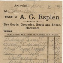 Image of A2015.107.001 - Business receipts: Esplen, Paisley Feed, Superior Stores