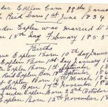 Image of A2015.107.002 - List of births:  family of Alexander Esplen and Beulah Reid