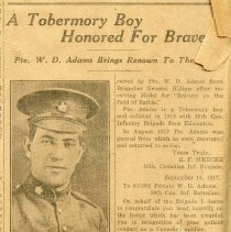 Image of A2015.121.010 - A Tobermory boy honored for bravery [William Daniel Adams]