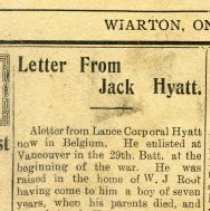 Image of A2015.121.011 - Letter from Jack Hyatt [in Canadian Echo]