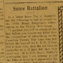 "Image of A2015.121.012 - ""Some battalion,"" published letter home from Pte. J. Kendrick"