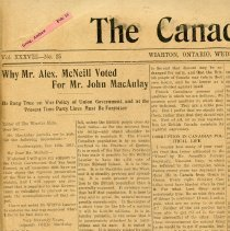 Image of A2015.121.013 - Why Mr. Alex McNeill voted for Mr. John MacAulay, Canadian Echo